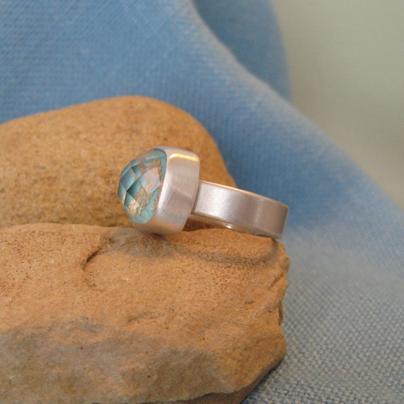Sleeping BeautyTurquoise Ring Sterling Silver Gold Crystal Quartz Square Doublet Stone Alternative Offbeat Engagement OOAK JJDLJewelryArt