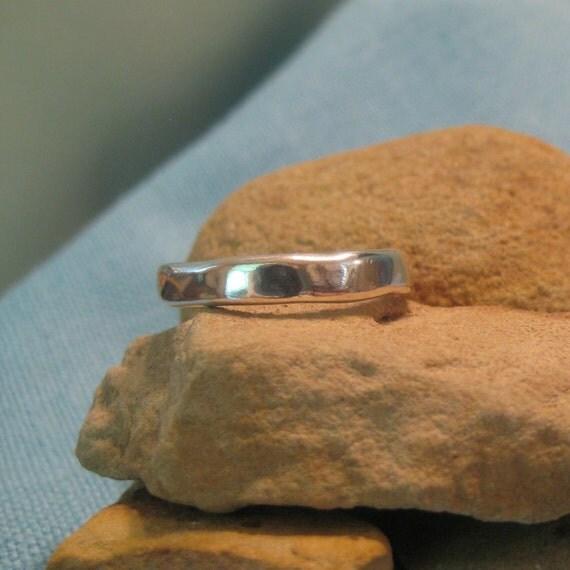 Organic Wedding Band Silver Mens Plus Size Ring Freeform Rustic JJDLJewelryArt