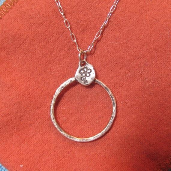Charm Holder Necklace Flower Silver Forget Me Not Organic Round  JJDLJewelryArt