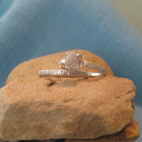 Rough Diamond Engagement Ring Wedding Band Set Silver White Raw Specimen Bridal JJDLJewelryArt
