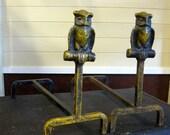 Vintage Yellow Owl Andirons