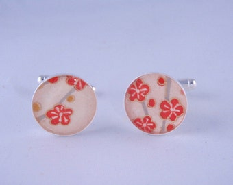 Ivory and Orange PlumBlossom Chiyogami Cufflinks 17mm diameter with a thick Protective Glossy Hand Poured coat of Polymer Resin