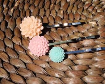 Pretty Flower Hair Bobby Pins- set of 3- Wear one, wear them all