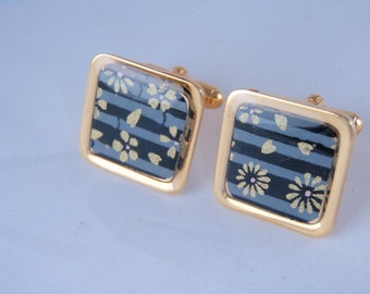Black and Grey Stripe with Gold Detail Chiyogami-  20mm Square Cufflinks  with a thick Protective Glossy Hand Poured coat of Polymer Resin