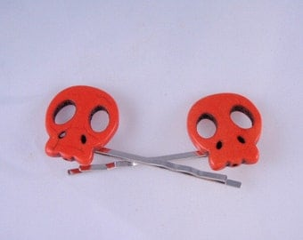 Orange - Mango -  Skull Bobby Pins- set of 2 - Funky unique and cute