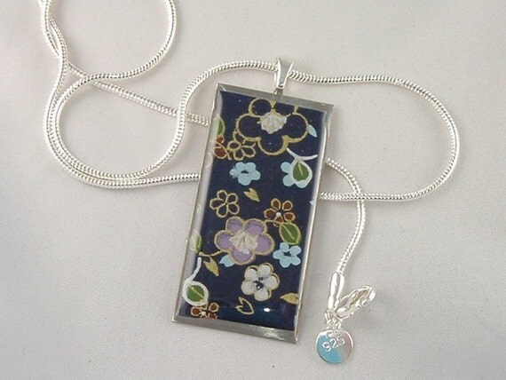 Navy with Flowers -  1X2 Rectangle Pendant on a pretty snake chain  hand poured Resin protected beautiful depth and gloss
