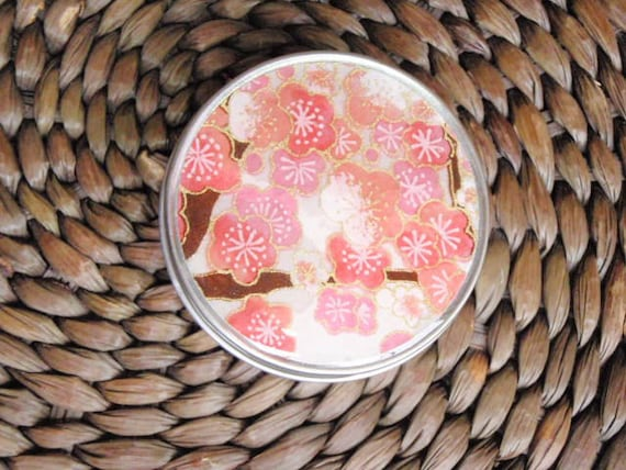 Pink Cherry blossoms on Ivory Chiyogami  - Screw Top 1 oz Round Tins - Stash your secrets -Resin protected Chiyogami top