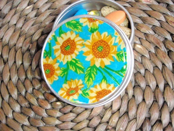 Brilliant Sunflowers on Turquoise Chiyogami  - Screw Top 1 oz Round Tins - Stash your secrets -Resin protected Chiyogami top