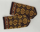 Hand knitted warm wool mittens gloves patterned brown and yellow
