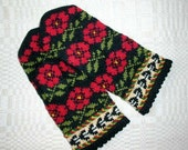 High quality hand knitted warm wool mittens , gloves patterned Black and Red roses