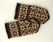 High quality hand knitted warm wool mittens , gloves Morning star pattern on dark background with red dots