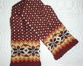 High quality hand knitted warm wool mittens , gloves Brown with colorful border and bright dots