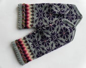 High quality hand knitted warm wool mittens , gloves patterned Grey and Purple flowers