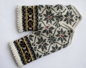 Hand knitted warm wool mittens , gloves patterned White , Grey flowers