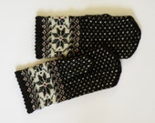 Hand knitted warm wool mittens , gloves patterned black and white