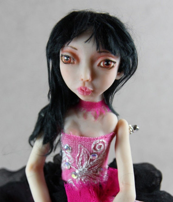 Art Doll Josephine made with polymer clay by hand