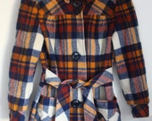 Reserved for jen - Vintage Plaid Wool Coat 60s/70s