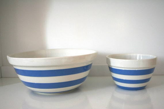 Set of Two Vintage T.G. Green Blue Striped Cornishware Mixing Bowls
