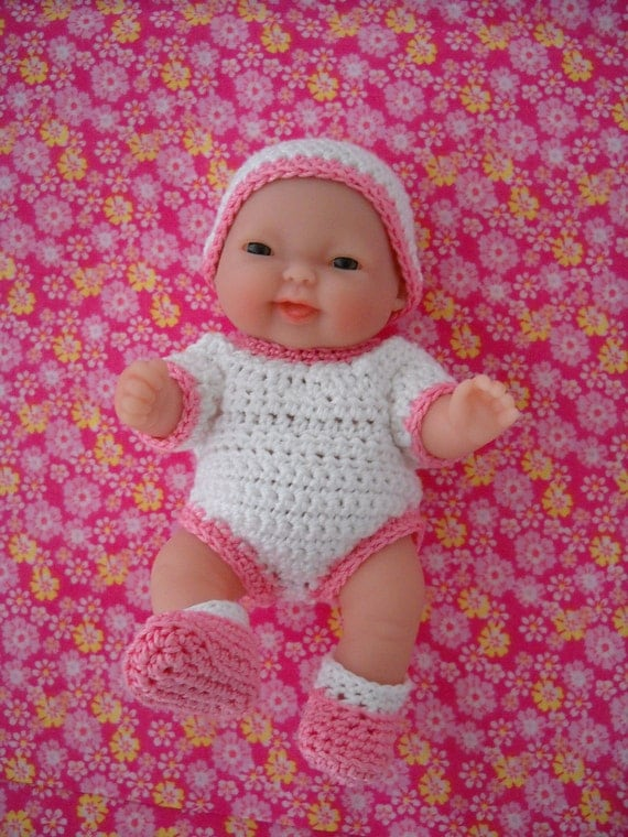 Tiny Baby Doll, Onesie, Booties and Baby Cap