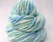RESERVED for tbalti - Sparkling Waters 112 yards  Bulky Thick and Thin Handspun Yarn