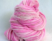 Pretty in Pink 140  yards Super Bulky Thick and Thin Handspun yarn