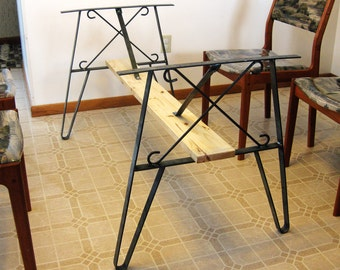 Metal Dining Table Leg Set, Create A Top Use Flat Iron Twin-Legs To Hold it Up. Unpainted 27.75 Inch High. (70.5cm)