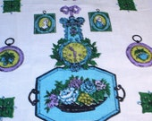 Vintage Linen Kitchen Towel Aqua and Purple