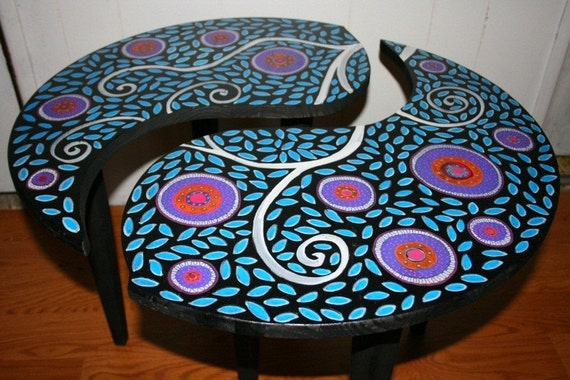 Yin Yang Table Coffee Side End Table 24 Round 17 By Funkyartguy