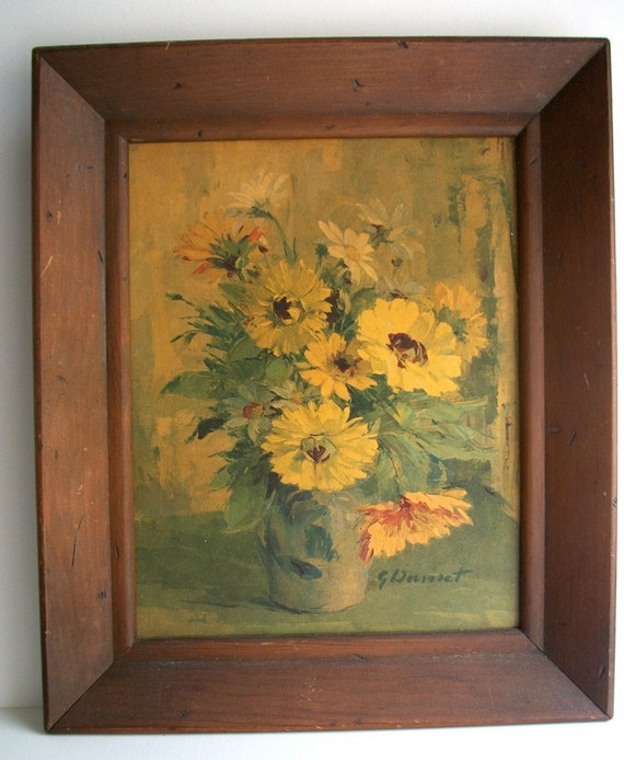 Vintage Mid-Century Flower Painting Reproduction