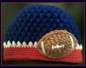 NY Giants Crochet Football Hat