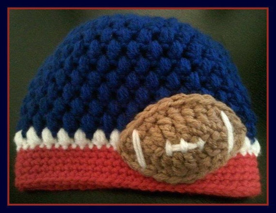 Crochet Football Hat (CUSTOM / PERSONALIZED)