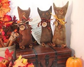 Cat Shelf Sitters, Primitive Handmade Trio, Halloween, thecattsuglybabies on Etsy, Folk Art, Wood Spools, Ribbons, Black, Orange, Rafia, Rusted Heart, Star