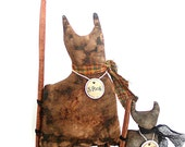 Cat Shelf Sitter, Primitive Doll, Pair, Plaid, Two, Cat, Primitive, thecattsuglybabies, Folk Art, Tea Stained, Cinnamon Stick