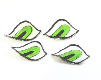 Monster Eyes, Eyes Applique, Monster Eye Patch, White and Green, Embroidered Applique, White, Green, Patch, Lot of 8, Black, Sew On Patch