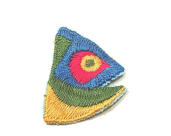 Fish Head Applique, Fish Head Patch, Green, Gold, Embroidered Applique, Blue, Red, Fishing, Patch, Lot of 12