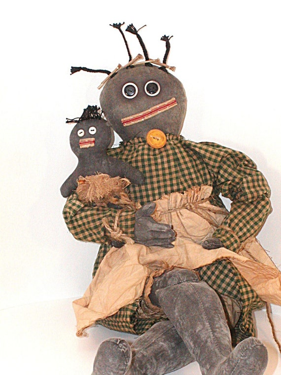 Black Americana, Doll, Primitive Doll, Mammy Doll, Black Doll, Primitive, Black Mammy Doll, Americana, Negro, Green Gingham, Yellow