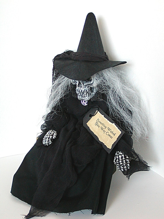 Witch Doll, Witch, Primitive Witch, Halloween Witch, Skeleton, Primitive Halloween, Skull, Gothic, Black, Pentagram, Wiccan, Wicca