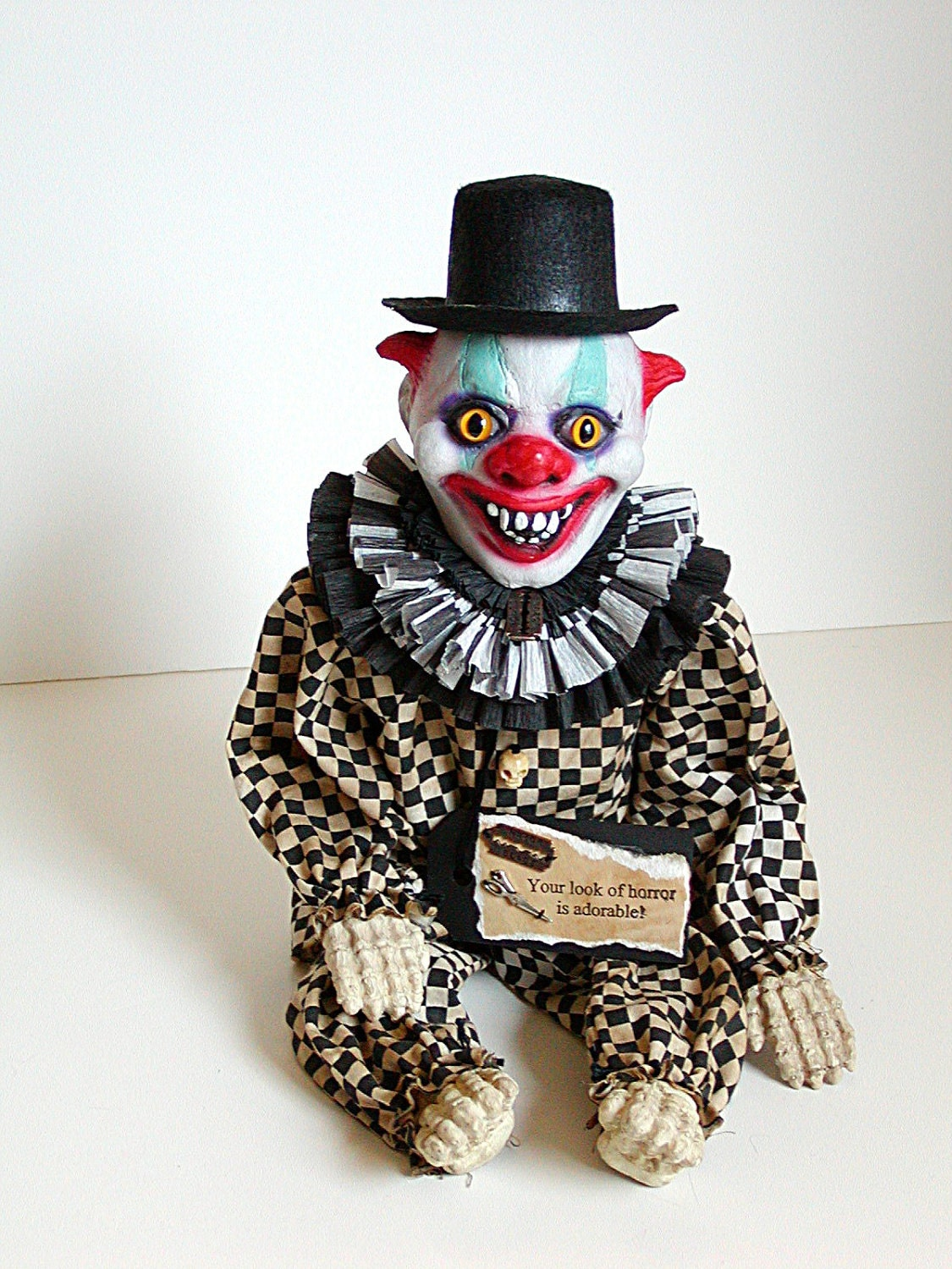 Clown Doll Creepy Clown Black And White Checked Gingham