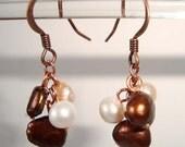 Fresh Water Pearl Earrings Brown and Cream Fresh Water Pearl Copper Earrings