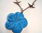 Blue Howlite Necklace Carved Flower Sparrows Bronze Necklace