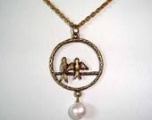 Bird Necklace Love Birds Fresh Water Pearl Antique Bronze Pendant Necklace