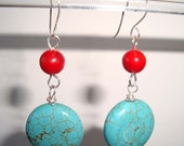 Turquoise Earrings and Red Coral Earrings Silver Dangle Earrings