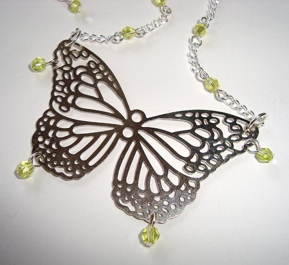 Butterfly Pendant Necklace with Peridot Color Crystals
