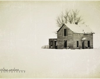Old abandon house-winter photography-old house photo-snow photo-black and white (5 x 7 Original fine art photography prints) FREE Shipping