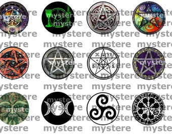 1 Inch Circles Pagan Wiccan Symbols Pentacles Digital Collage Sheet