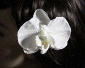 Large White Orchid on an Alligator Clip - Handmade Hair Flower