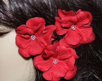 3 Red Flowers on Heavy Weight Bobby Pins - Handmade Hair Flower