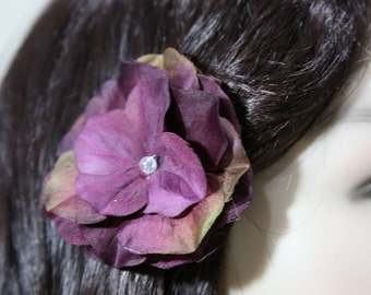 1 Dark Purple Flower on an Alligator Clip - Handmade Flower Hair Accessories