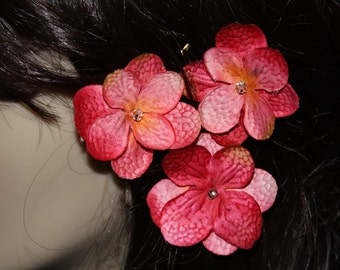 3 Pink Flowers on Heavy Weight Bobby Pins - Handmade Hair Flower
