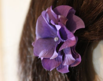 Purple Flower on an Alligator Clip- Handmade Hair Flower